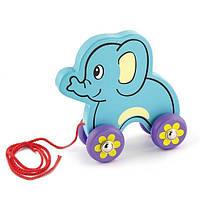 Игрушка-каталка Слоник Viga Toys 20х20х8 см Голубой