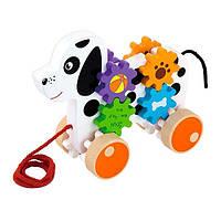 Игрушка-каталка Щенок Viga Toys 9х24х23 см Разноцветный