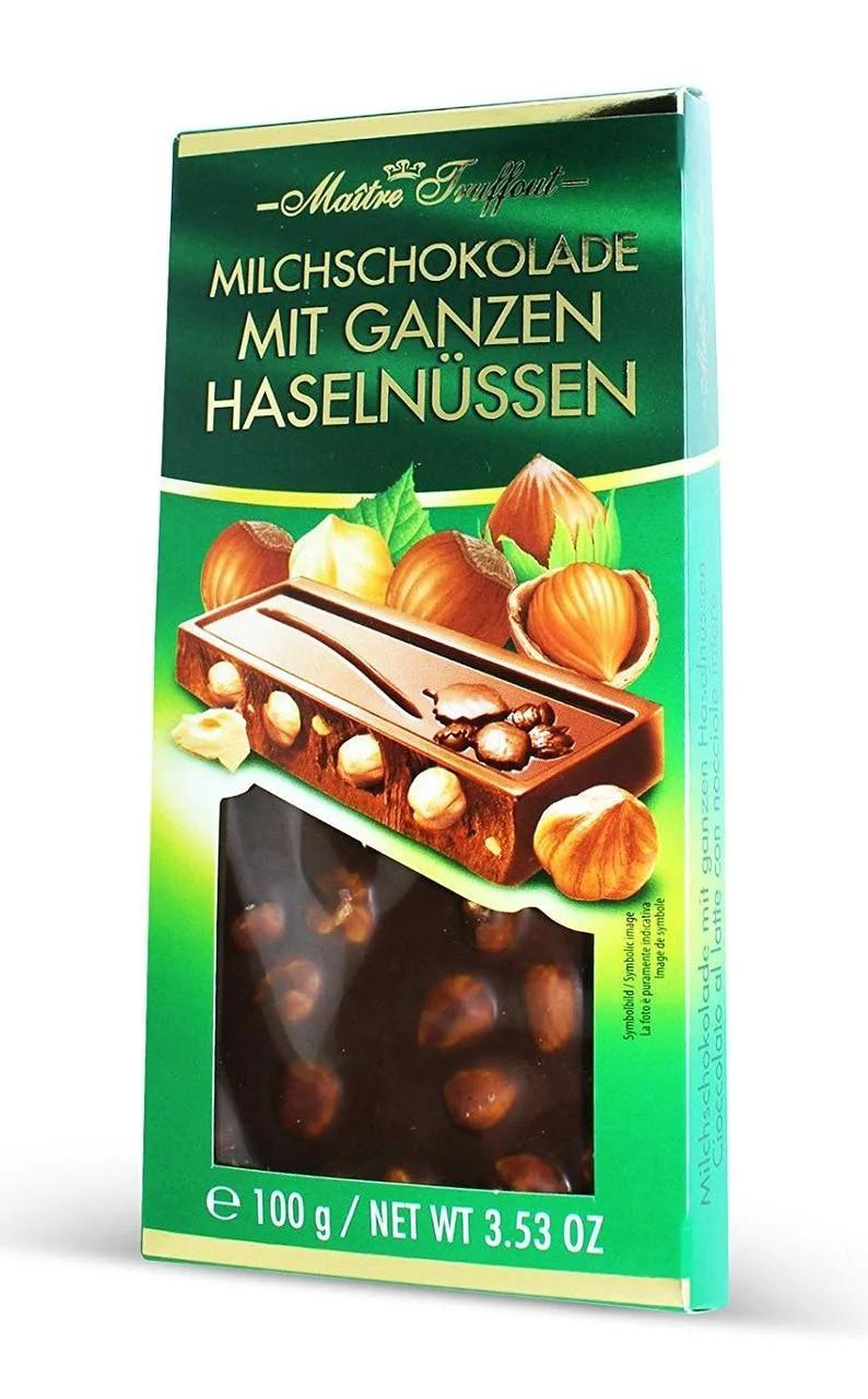 Шоколад молочный с цельным фундуком Maitre Truffout Mit Ganzen Hazelnussen 100 г Австрия