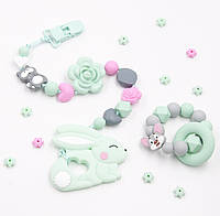 """Подарочный набор силиконовые игрушки-грызунки Ярмирина """"Мятный Зайчик"""""""