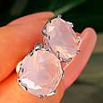 Серебряные серьги гвоздики с розовым кварцем, фото 3
