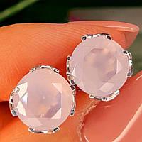 Серебряные серьги гвоздики с розовым кварцем