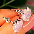 Серебряные серьги гвоздики с розовым кварцем, фото 2
