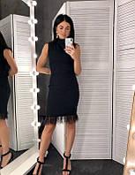 Классическое черное базовое платье с перьями PD0280