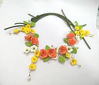 Колье с оранжевыми розами на шнурах из полимерной глины, фото 1