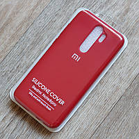 Оригинальный чехол Silicone Cover жидкий силикон для Xiaomi Redmi Note 8 Pro (dark red, микрофибра внутри)