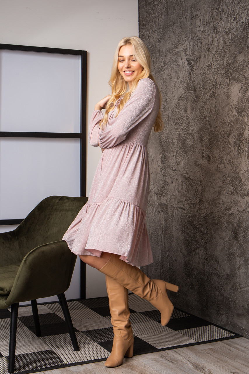 Платье  мод 740-1 размер 44,46,48,50 розовый люрекс, фото 4