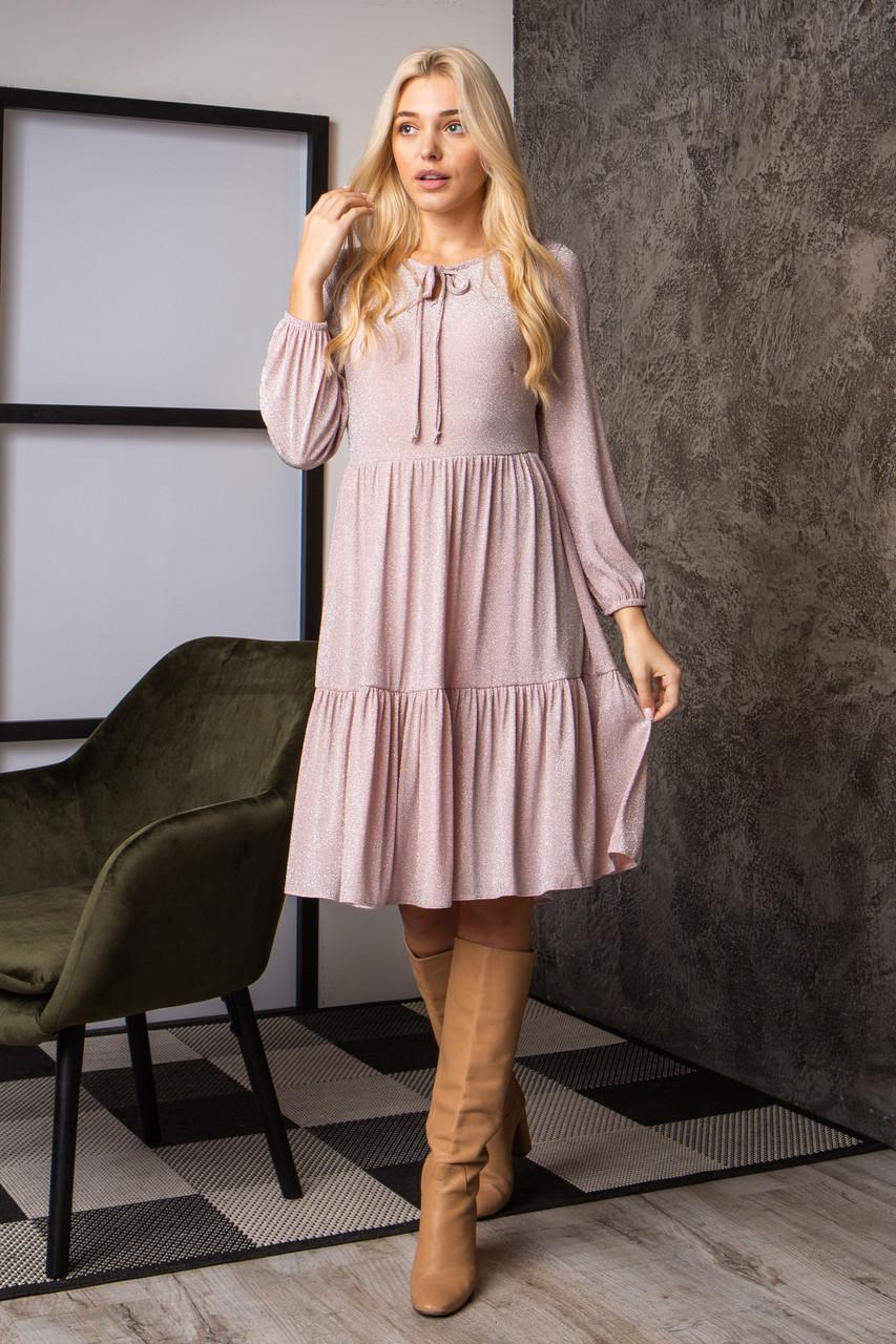 Платье  мод 740-1 размер 44,46,48,50 розовый люрекс, фото 1