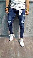 Мужские джинсы Slim рваные зауженые синие