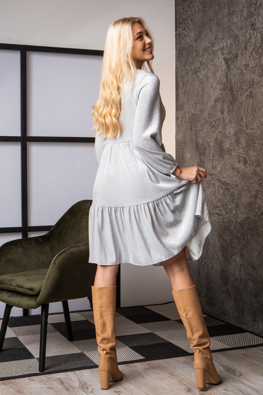 Платье  мод 740-2 размер 44,46,48,50 серебряный люрекс, фото 2