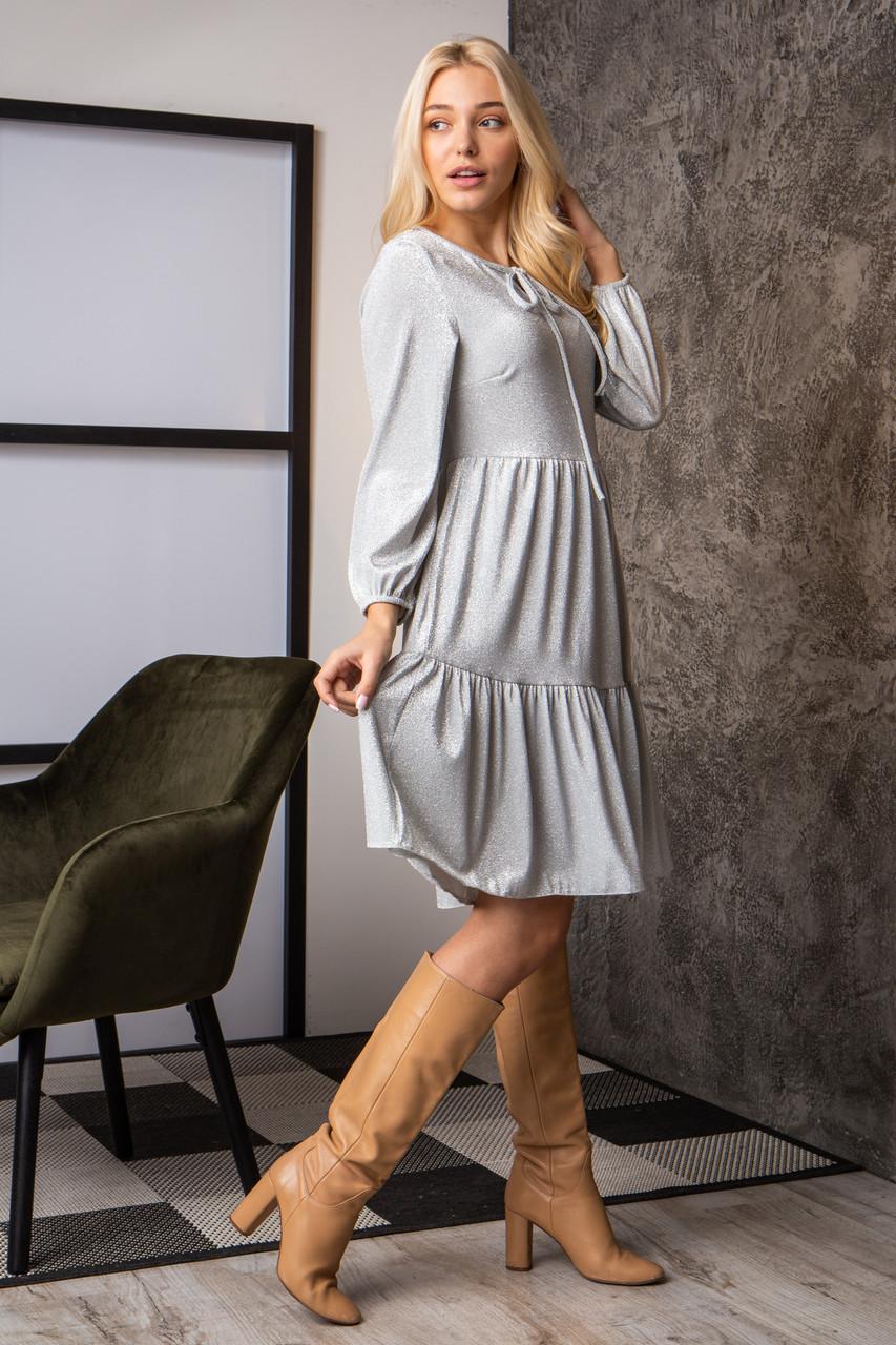 Платье  мод 740-2 размер 44,46,48,50 серебряный люрекс, фото 1