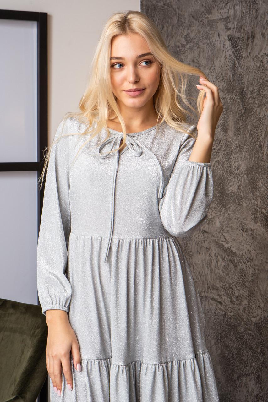 Платье  мод 740-2 размер 44,46,48,50 серебряный люрекс, фото 3