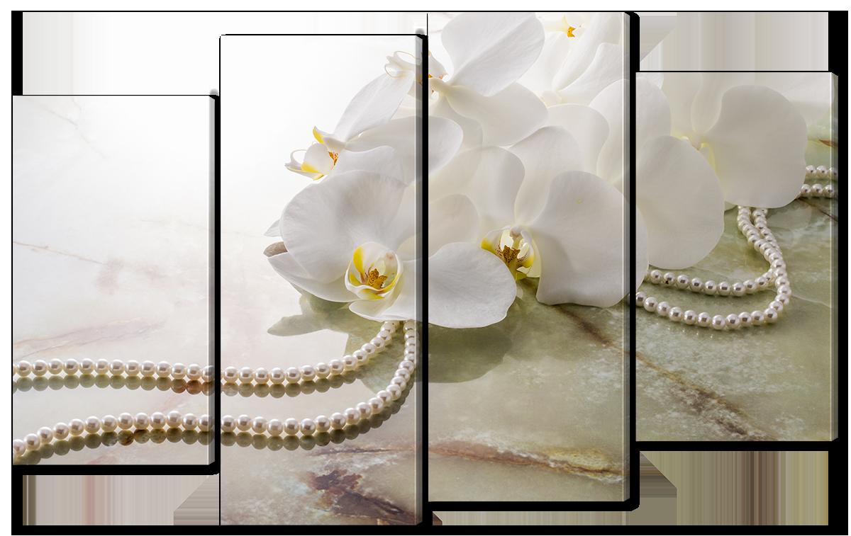 Модульная картина Interno Холст Орхидея и бусы 126x77см (R2479L)