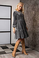 Платье  мод 740-3 размер 44,48 темно-серый люрекс