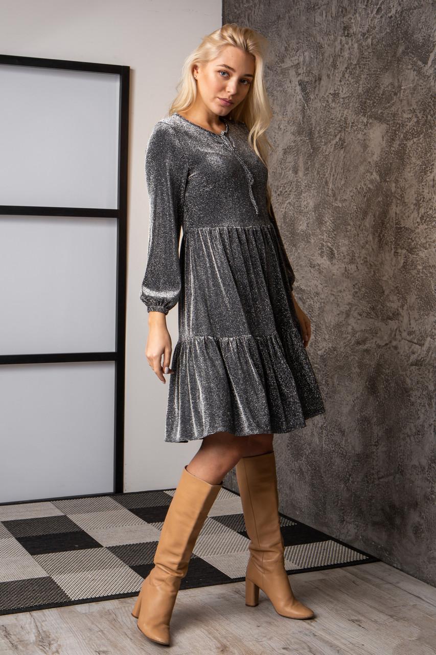 Платье  мод 740-3 размер 44,46,48,50 темно-серый люрекс, фото 1