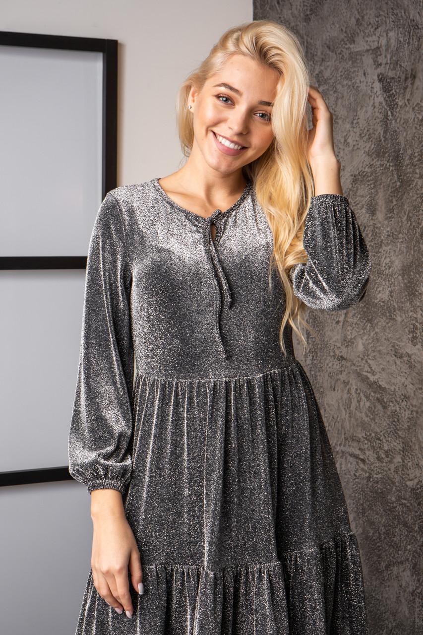 Платье  мод 740-3 размер 44,46,48,50 темно-серый люрекс, фото 4