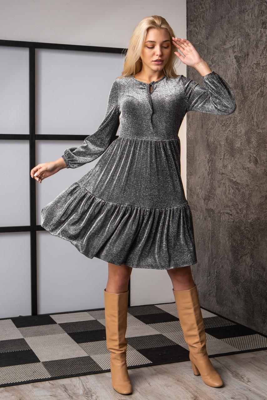 Платье  мод 740-3 размер 44,46,48,50 темно-серый люрекс, фото 5