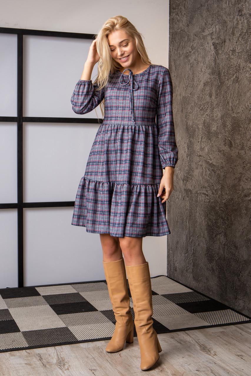 Платье  мод 740-4 размер 44,46,48,50 клетка с люрексом, фото 1