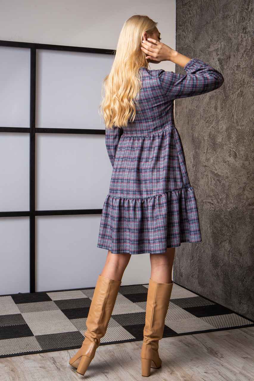 Платье  мод 740-4 размер 44,46,48,50 клетка с люрексом, фото 4