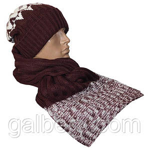 Зимняя шапка бини и шарф петля