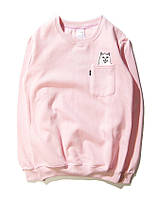 ✔️ Свитшот модный с принтом розовый мужской женский кофта без капюшона реглан