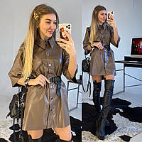 Женское кожаное платье свободного кроя