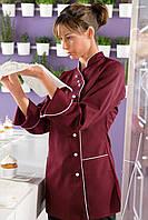 Китель поварской женский TEXSTYLE с косой застежкой бордовый 48-й размер