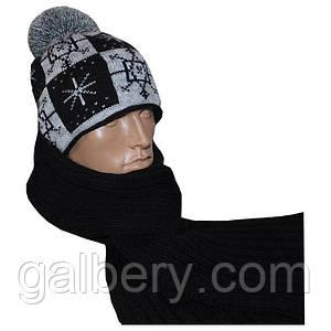 Зимняя шапка с орнаментом и шарф - петля