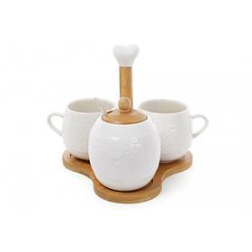 Чайный набор Bona Di Naturel цветы сахарница с ложкой 400 мл и две чашки 250 мл на бамбуковой подставке