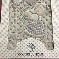 Плюшевий дитячий плед сірий з мишком з повітряними кулями, розмір 80х95 см