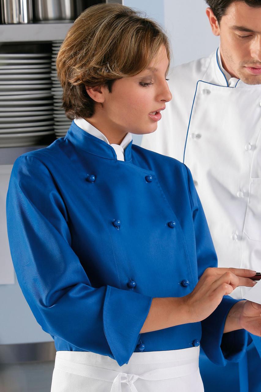 Китель поварской TEXSTYLE женский двубортный синий 50-й размер