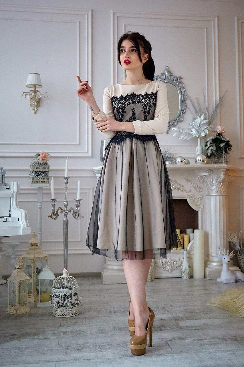 Платье  мод 735-5 ,размер 44,46,48,50 бежевое