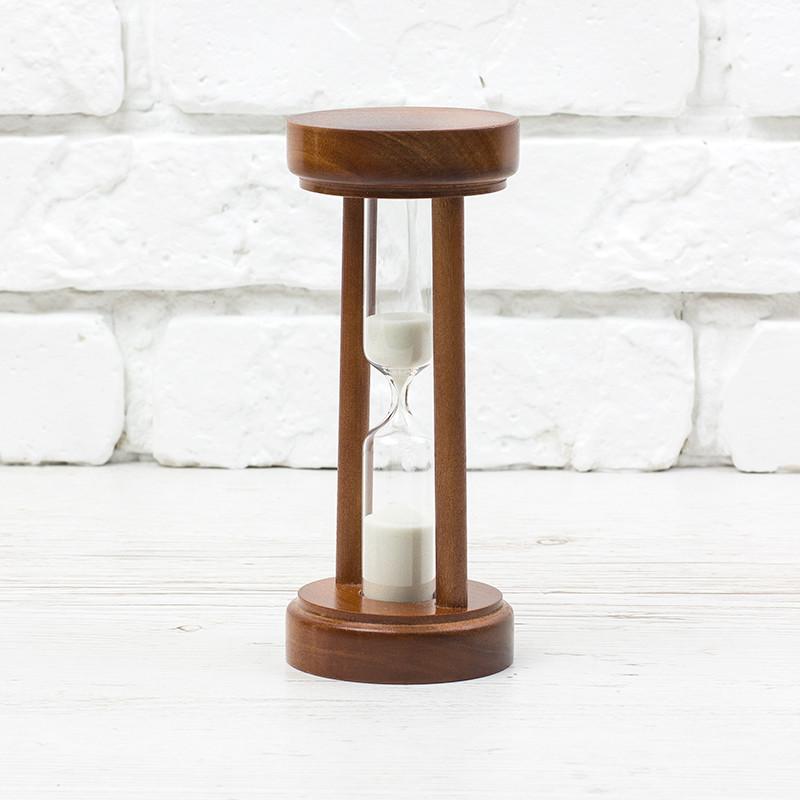 Пісочний годинник дерев'яний корпус 5 хв, 10 хв корпус вишня. пісок білий