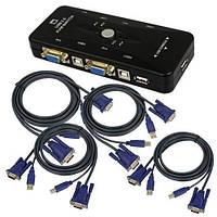 4-портовый KVM свич, переключатель USB + 4 кабеля