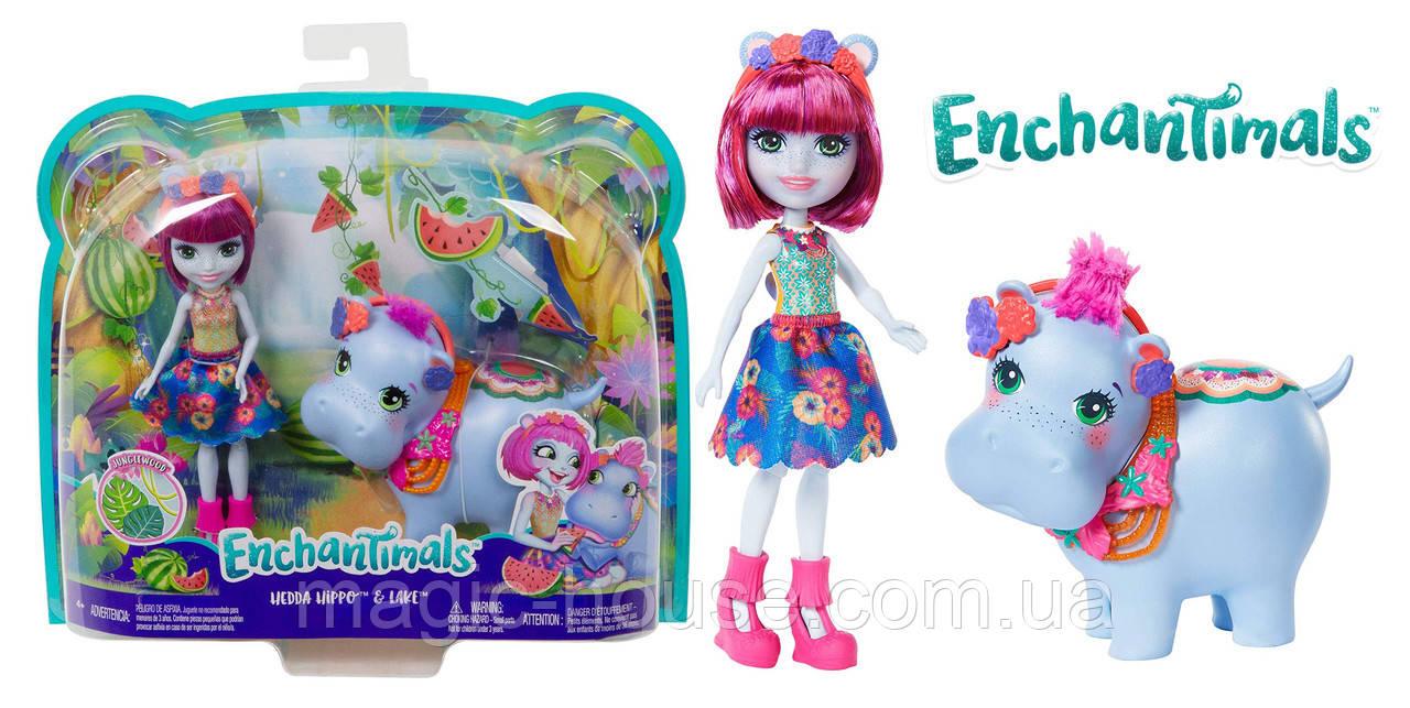 Enchantimals куклаЭнчантималс бегемот Хедда Хиппо и Лейк оригинал от Mattel