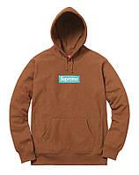 ✔️ Толстовка зимняя с утеплением с логотипом коричневая мужская женская кофта с капюшоном