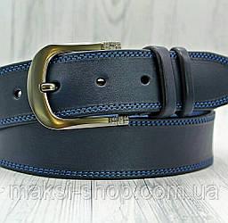 Мужской кожаный ремень 45 мм синий с синей ниткой