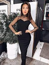 Женское нарядное миди платье, украшенное сеткой  (креп дайвинг и сетка-горох) цвета чёрный и бордо