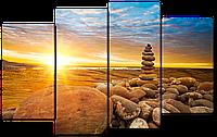 Модульная картина Interno Эко кожа Башня из камней  114х69см (A2498М)