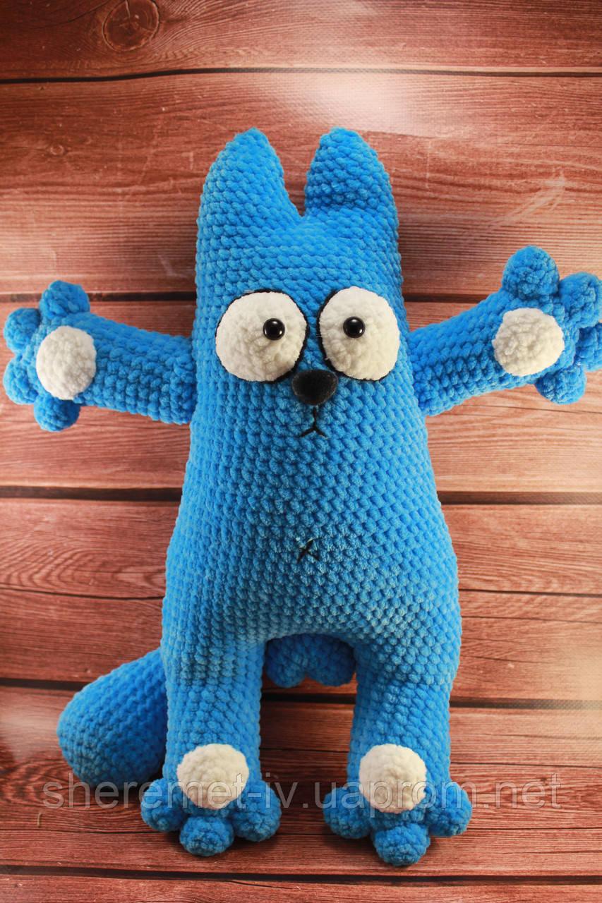 Мягкая вязаная  игрушка ручной работы Кот Саймон из плюша 45*33 см