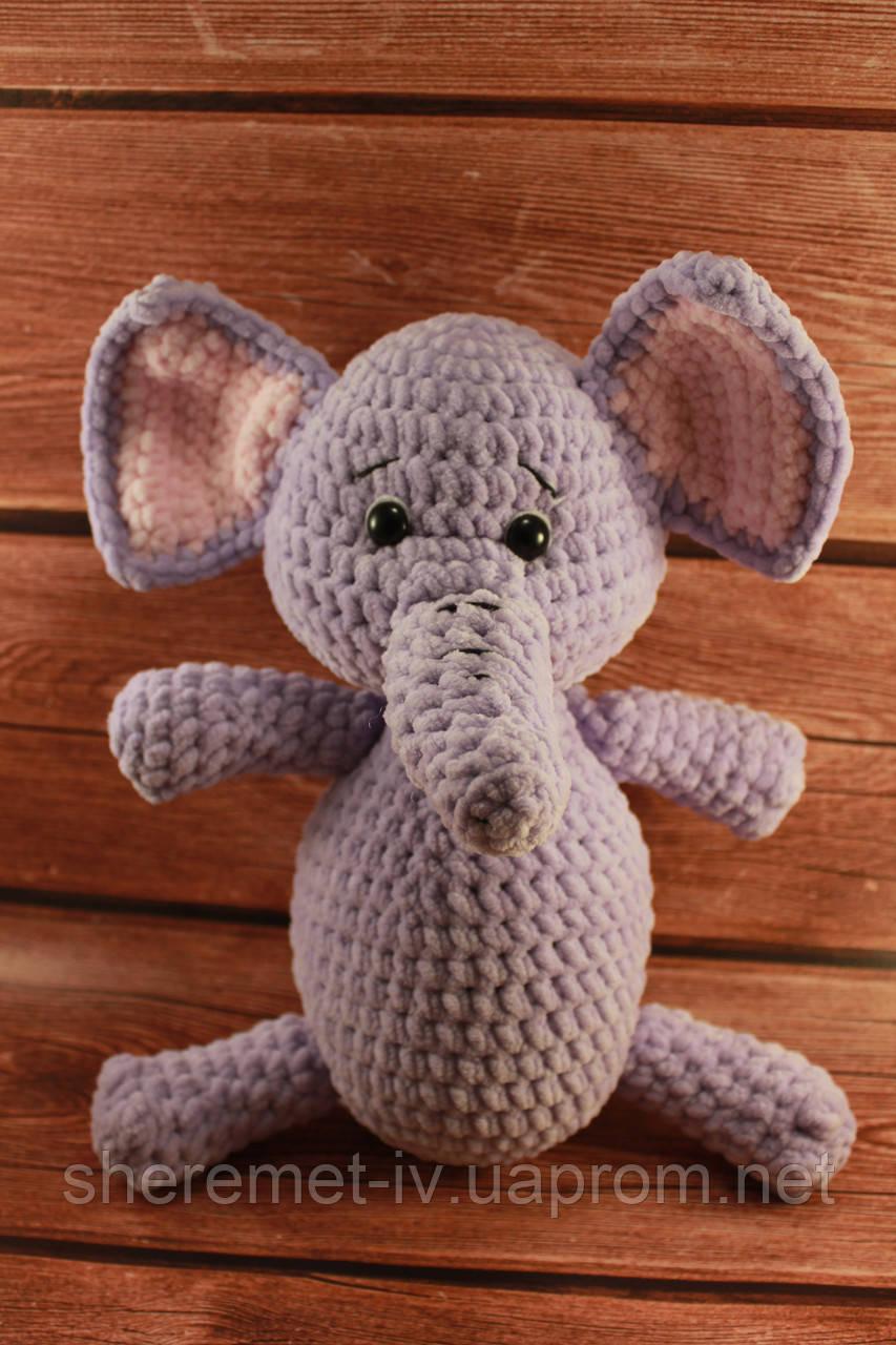 Мягкая вязаная  игрушка ручной работы Слоник из плюша 31*20 см для детей
