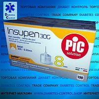 Иглы 8 мм для инсулиновой шприц-ручки INSUPEN / ИНСУПЕН 30G, 100 шт.