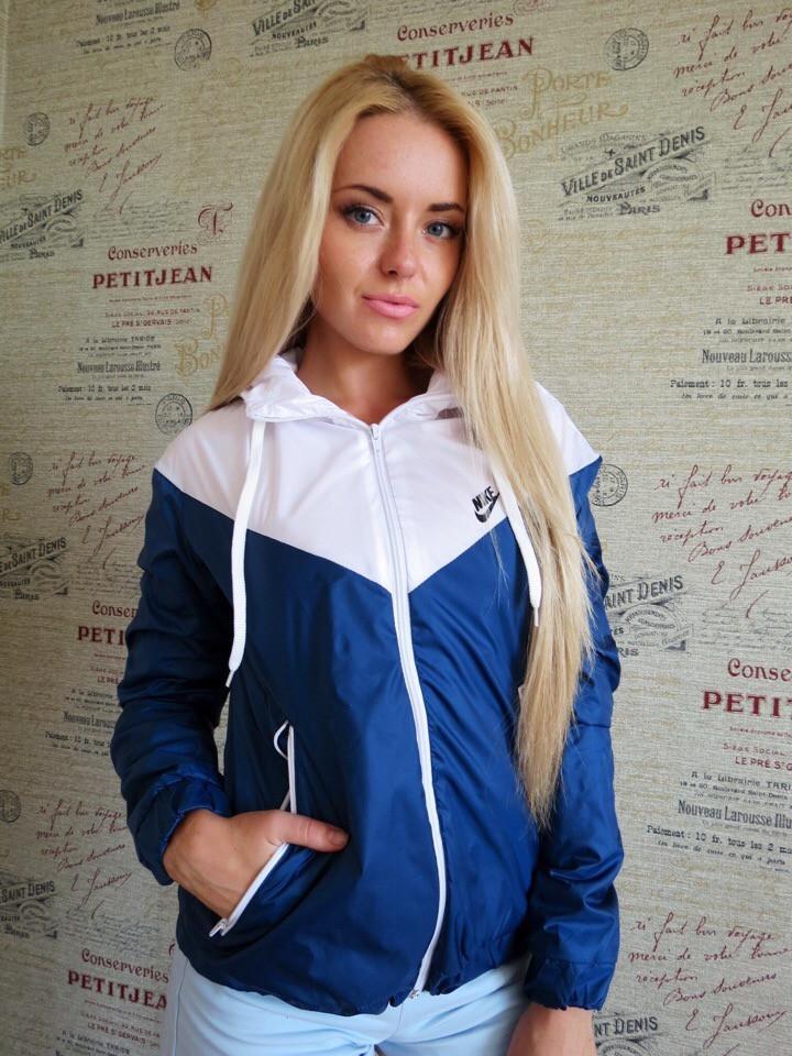 Куртка ветровка женская на флисе - Синий с белым