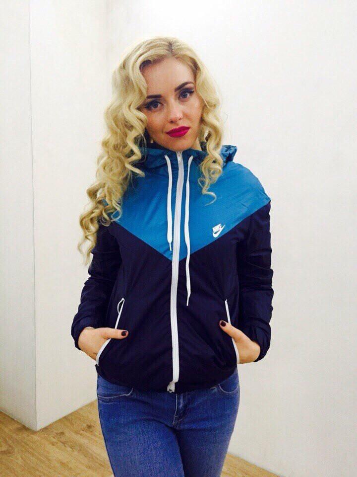 Куртка ветровка женская на флисе - Темно-синий с голубым