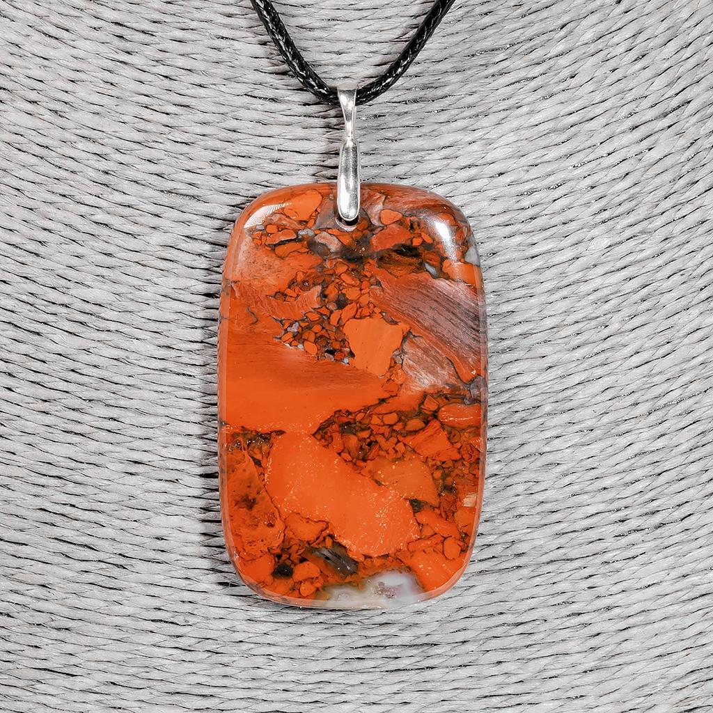 Кулон с красной яшмой, 55*35 мм., серебро, 1208КЛЯ