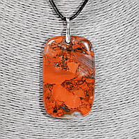 Кулон с красной яшмой, 55*35 мм., серебро, 1208КЛЯ, фото 1