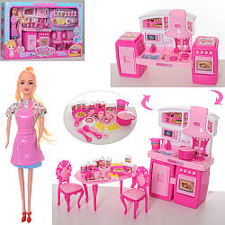 Игровая кухня для куклы мебель SY-2082-2 с музыкальными и световыми эффектами