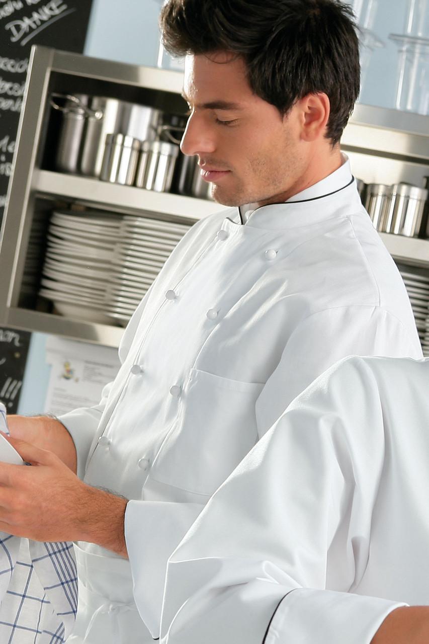 Китель поварской мужской TEXSTYLE с кантом и нагрудным карманом белый 48-й размер