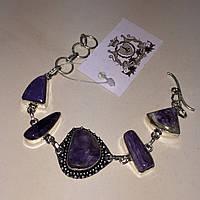 Чароит браслет с натуральным камнем чароит в серебре. Браслет с чароитом Индия