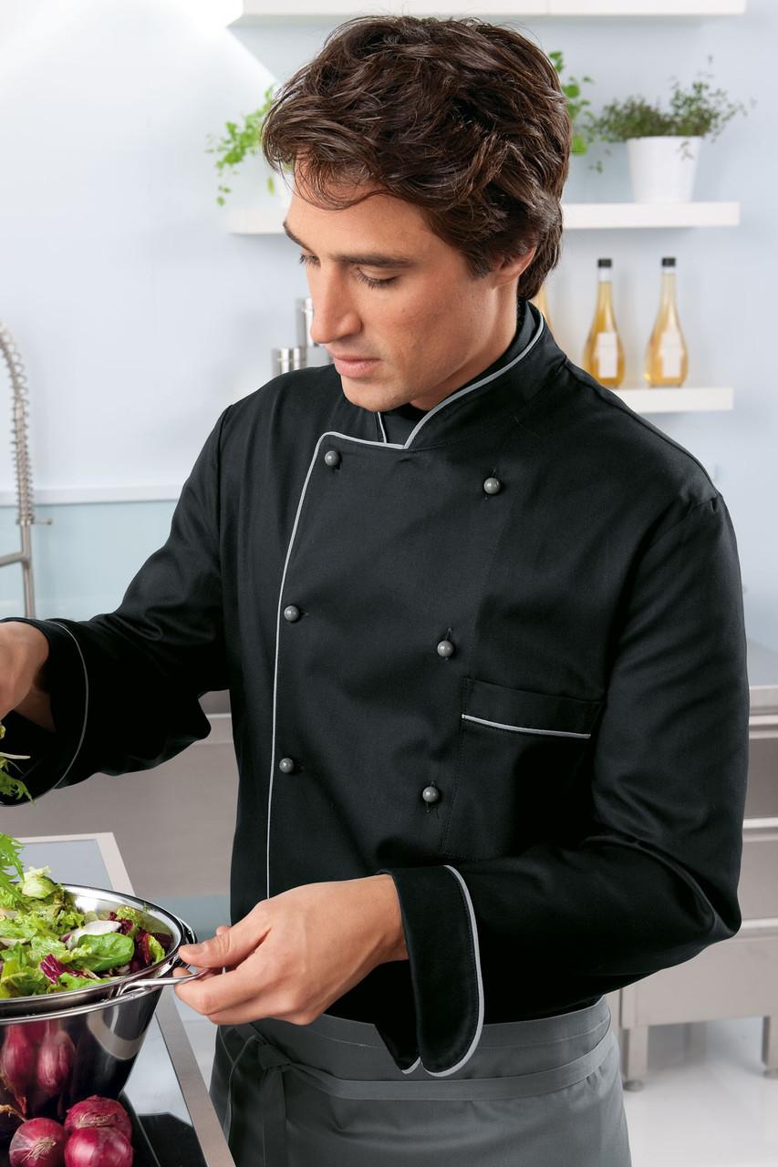 Китель поварской TEXSTYLE модная классика черно-серый 50-й размер